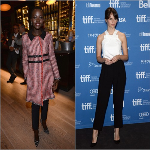 Lupita's coat by Moschino, pants by Veronica Beard, purse by Calvin Klein, shoes by Paul Andrew; Felicity's top and pants by Viktor & Rolf, shoes by Jimmy Choo