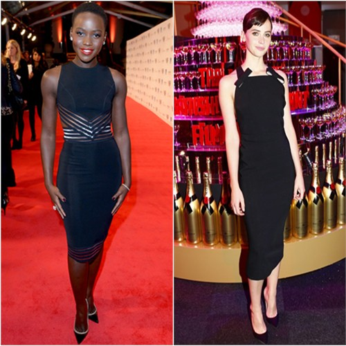 Lupita's dress by Christopher Kane, shoes by Christian Louboutin; Felicity's dress by Burberry, shoes by Jimmy Choo