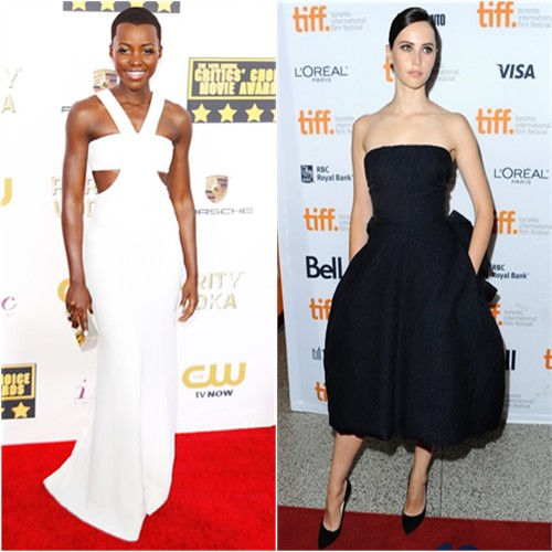Lupita's gown and purse by Calvin Klein; Felicity's dress by Christian Dior, shoes by Jimmy Choo