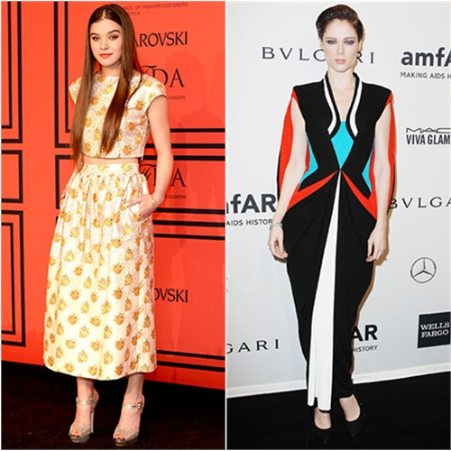 Hailee's top and skirt by Suno, shoes by Jimmy Choo; Coco's gown by Jean Paul Gaultier