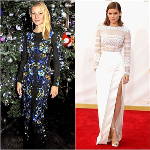Gwyneth's gown by Matthew Williamson; Kate's gown by J. Mendel, shoes by Charlotte Olympia