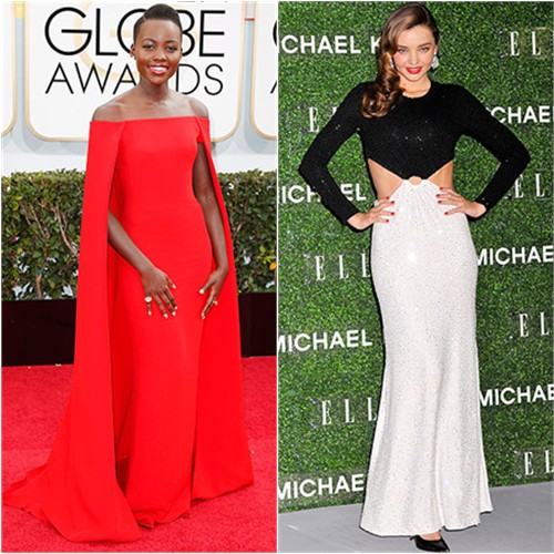 Lupita's gown by Ralph Lauren; Miranda's gown by Michael Kors