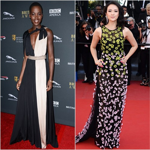 Lupita's gown by Lanvin; Zhang's gown by Christian Dior