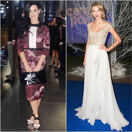 Katy's dress, purse, and shoes by Prada; Taylor's gown by Reem Acra