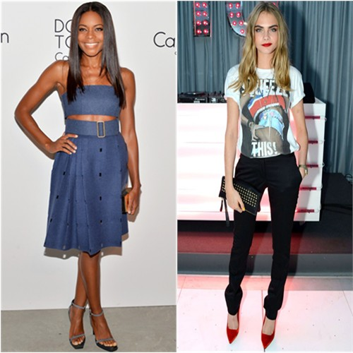 Naomi's top and skirt by Calvin Klein; Cara's top, pants, purse, and shoes by Burberry