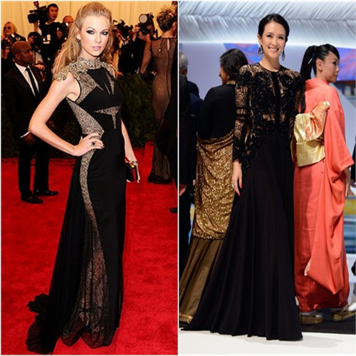 Taylor's gown and purse by J. Mendel; Zhang's gown by Elie Saab