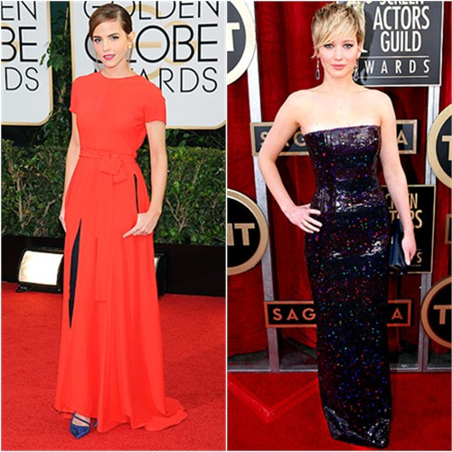 Emma's gown by Christian Dior, shoes by Roger Vivier; Jennifer's gown by Christian Dior