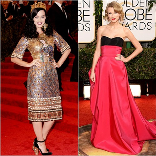 Katy's dress, crown, and shoes by Dolce & Gabbana; Taylor's gown by Carolina Herrera