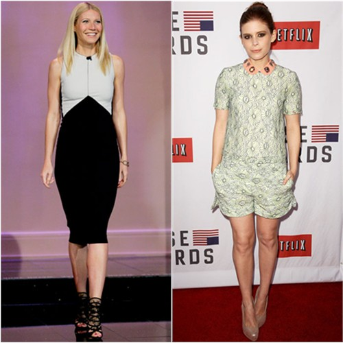 Gwyneth's dress by Narciso Rodriguez, shoes by Jimmy Choo; Kate's top and shorts by Mulberry