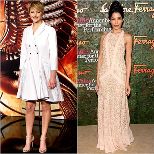 Jennifer's dress by Christian Dior, shoes by Stuart Weitzman; Freida's gown by Salvatore Ferragamo