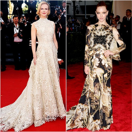 Nicole's gown by Valentino; Amanda's gown by Givenchy