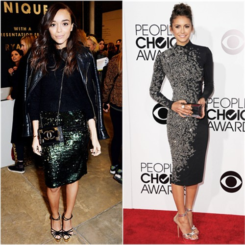 Ashley's skirt by Topshop, purse by Chanel, shoes by Charlotte Olympia; Nina's dress by Jenny Packham, purse by Rauwolf, shoes by Charlotte Olympia
