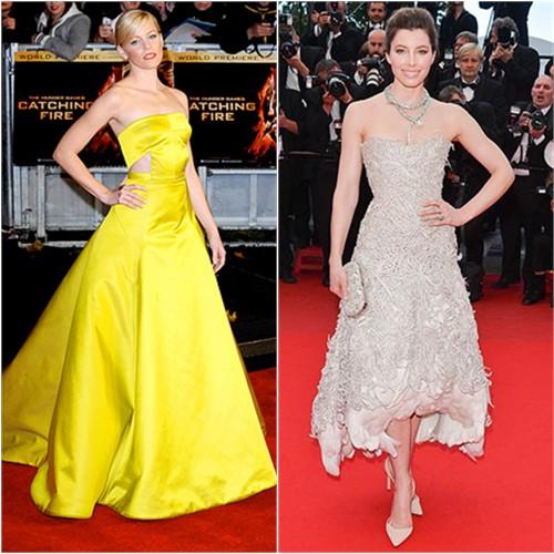 Elizabeth's gown by Jason Wu; Jessica's dress and purse by Marchesa
