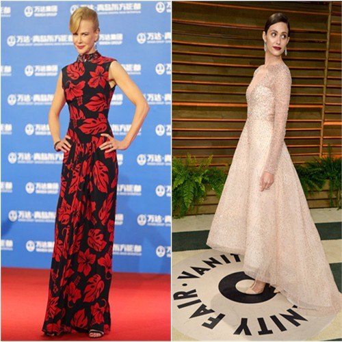 Nicole's gown by Prada; Emmy's gown by Monique Lhuillier