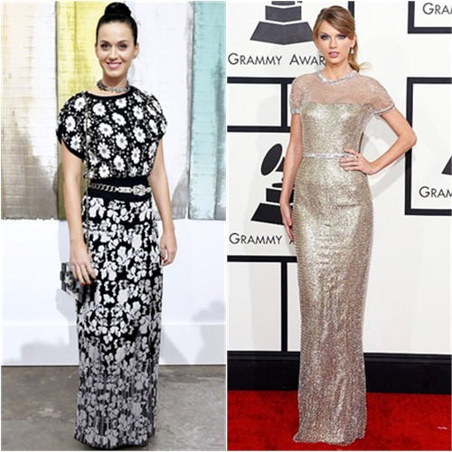 Katy's top, skirt, belt, purse, and shoes by Chanel; Taylor's gown by Gucci