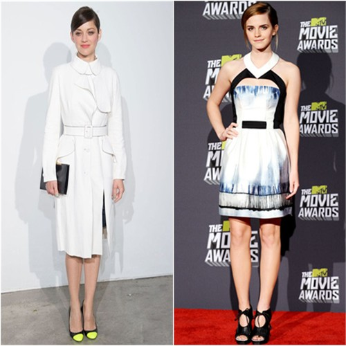Marion's dress and shoes by Christian Dior; Emma's dress by Maxime Simons, shoes by Proenza Schouler