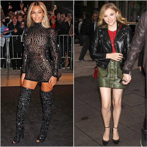 Beyoncé's dress and boots by Tom Ford; Chloë's jacket by Saint Laurent, top, skirt, and purse by Chanel, shoes by Jimmy Choo