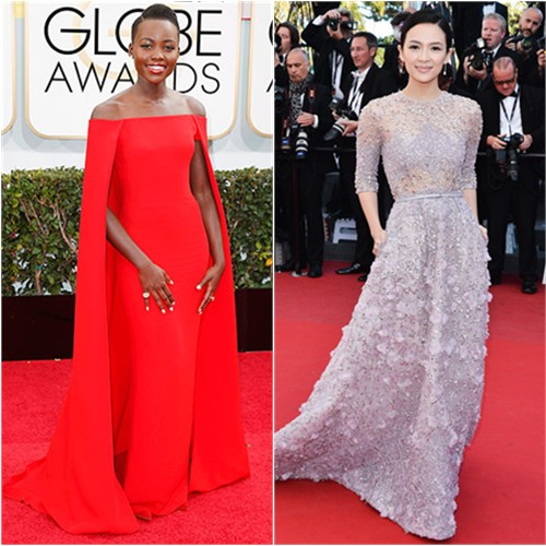 Lupita's gown by Ralph Lauren; Zhang's gown by Elie Saab