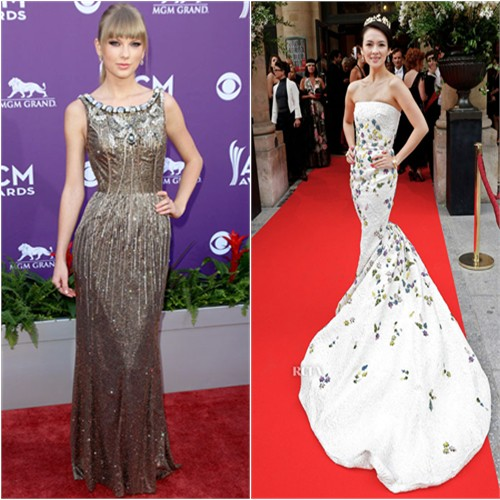 Taylor's gown by Dolce & Gabbana; Zhang's gown by Giambattista Valli