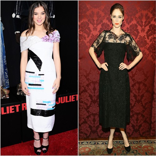 Hailee's dress by Prabal Gurung, shoes by Brian Atwood; Coco's dress by Dolce & Gabbana