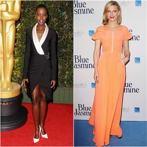 Lupita's dress by Prabal Gurung, purse by Charlotte Olympia, shoes by Christian Louboutin; Cate's gown by Roksanda Ilincic