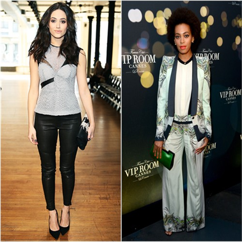 Emmy's top and pants by Yigal Azrouel; Solange's suit and blouse by Roberto Cavalli, purse by Vionnet