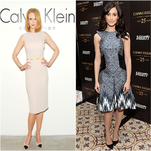 Nicole's dress by Calvin Klein; Emmy's dress by Bibhu Mohapatra, shoes by Benjamin Adams