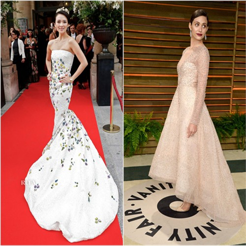Zhang's gown by Giambattista Valli; Emmy's gown by Monique Lhuillier