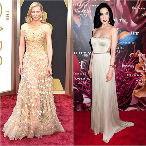 Cate's gown by Armani Priv ; Dita's gown by Maria Lucia Hohan
