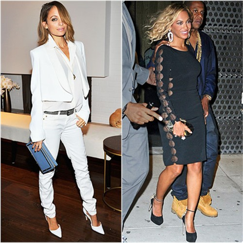 Nicole's jacket by Chloé; Beyoncé's dress by Tom Ford, purse by Giuseppe Zanotti, shoes by Brian Atwood