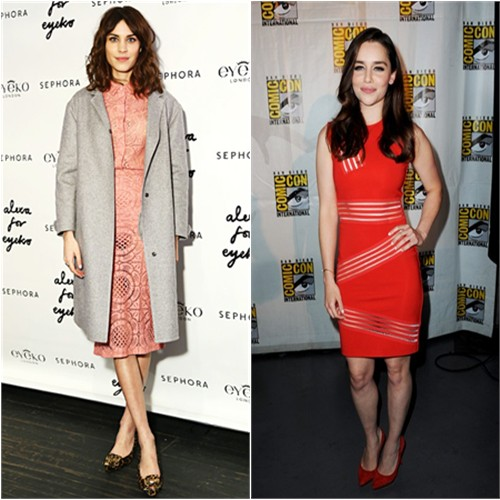 Alexa's coat and dress by Burberry; Emilia's dress by Christopher Kane