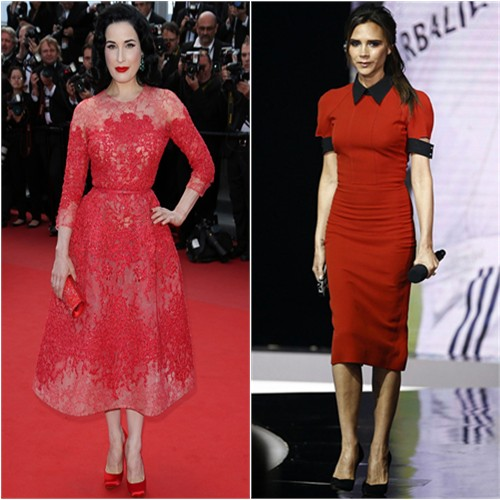Dita's dress by Elie Saab, shoes by Christian Louboutin; Victoria's dress by Victoria Beckham, shoes by Casadei
