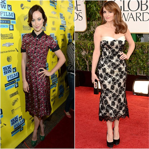 Olivia Wilde and Tina Fey in L'Wren Scott