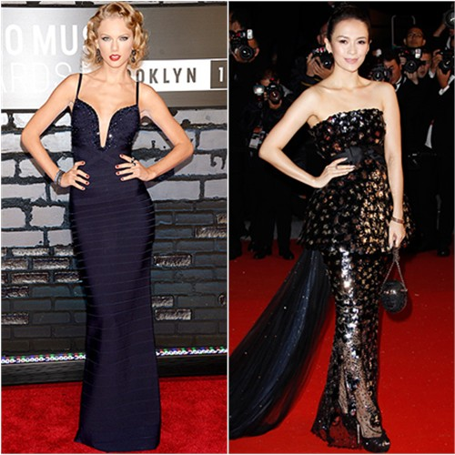 Taylor's gown by Herve Leger by Max Azria; Zhang's gown by Chanel, purse by Salvatore Ferragamo, shoes by Jimmy Choo