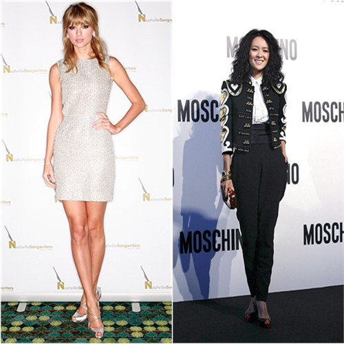 Taylor's dress by Houghton, shoes by Christian Louboutin; Zhang's jacket, blouse, pants, and purse by Moschino, shoes by Christian Louboutin