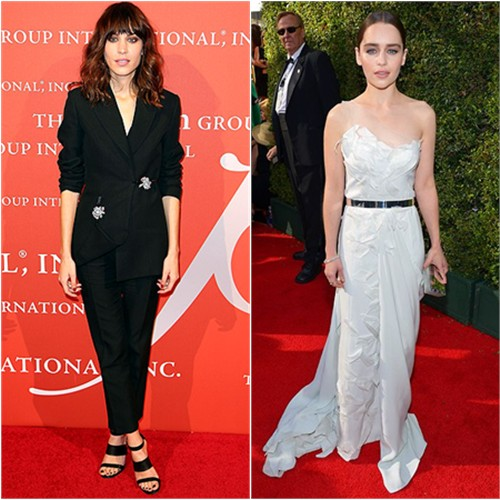Alexa's suit by Christopher Kane; Emilia's gown by Donna Karan, purse by Rauwolf