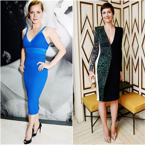 Amy's dress by Victoria Beckham; Maggie's dress by Roland Mouret
