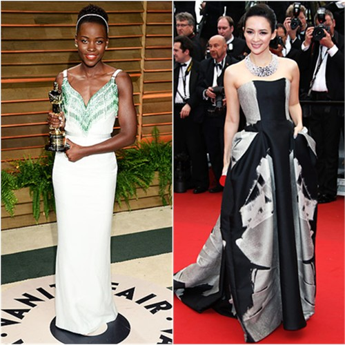 Lupita's gown by Miu Miu; Zhang's gown by Carolina Herrera, purse by Jimmy Choo