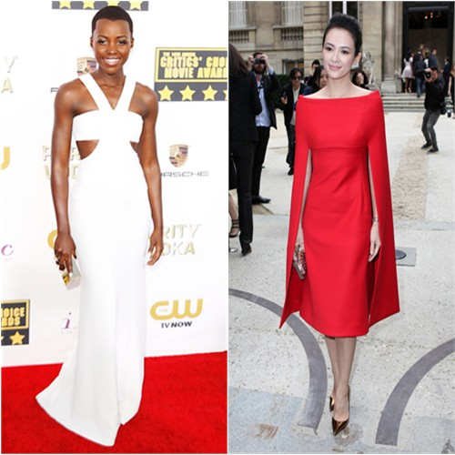Lupita's gown and purse by Calvin Klein; Zhang's dress by Valentino, shoes by Christian Louboutin