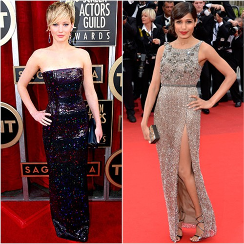Jennifer's gown by Christian Dior; Freida's gown by Sanchita, purse by Swarovski, shoes by Jimmy Choo