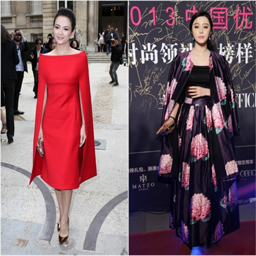 Zhang's dress by Valentino, shoes by Christian Louboutin; Fan's coat, top, and skirt by Christopher Bu, purse by Louis Vuitton