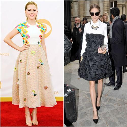 Kiernan's dress by Delpozo, shoes by Jimmy Choo; Olivia's purse by Valentino