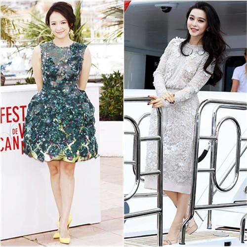Zhang's dress by Giambattista Valli, shoes by Christian Louboutin; Fan's dress by Elie Saab