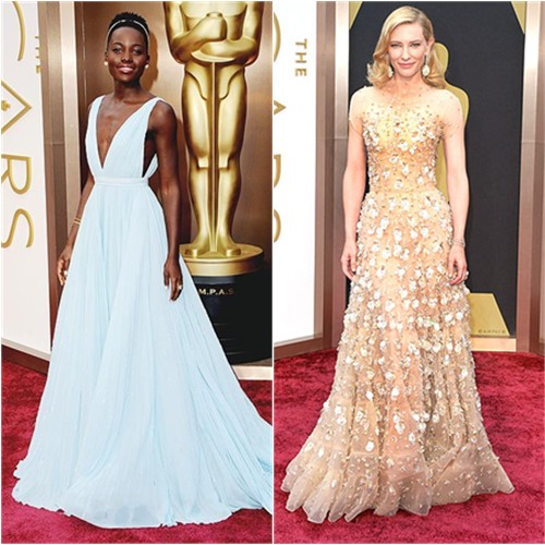 Lupita's gown by Prada; Cate's gown by Armani Privé