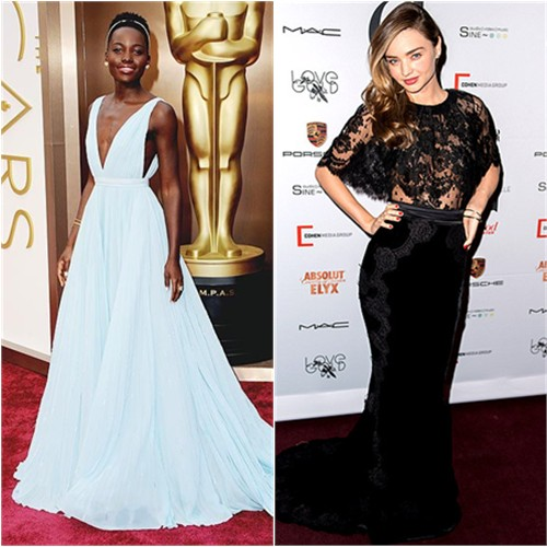 Lupita's gown by Prada; Miranda's top and skirt by Dolce & Gabbana