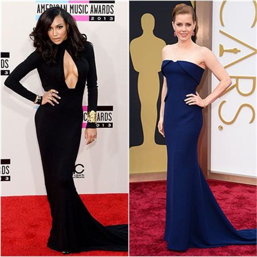 Naya's gown by Michael Kors; Amy's gown by Gucci