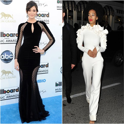 Emmy's gown by Zuhair Murad; Solange's jumpsuit by Stephane Rolland