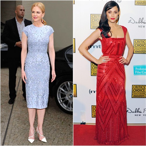 Nicole's dress by Elie Saab, shoes by Christian Louboutin; Emmy's gown by Naeem Khan
