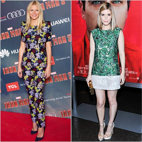 Gwyneth's top and pants by Erdem, shoes by Jimmy Choo; Kate's top and skirt by J. Mendel, shoes by Charlotte Olympia