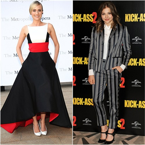 Diane's gown by Prabal Gurung, shoes by Casadei; Chloë's suit by Viktor & Rolf, shoes by Chanel